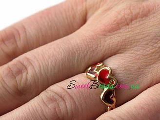 Кольцо Сердечки, красный