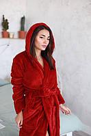 Красный теплый женский халат на запах