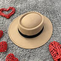 Шляпа женская канотье с закругленной тульей бежевая, фото 1