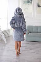 Теплый женский халат на запах серого цвета средней длины