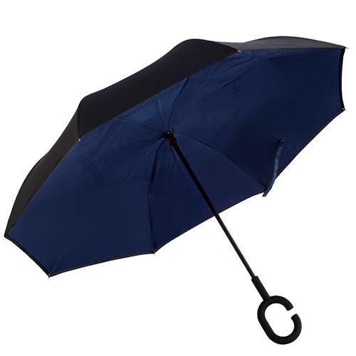 Зонт зворотного складання, антизонт, розумний парасольку, парасолька навпаки Up Brella Темно-Синій 151021