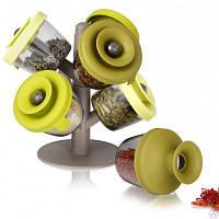 Набор для хранения специй и трав с силиконовыми крышечками Spice Rack 130221, фото 1