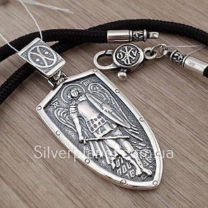 Комплект! Серебряный православный кулон с шелковым шнурком. Архангел Михаил на шнуре с серебряным замком