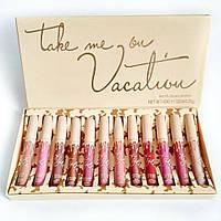 Набор матовых жидких губных помад в стиле Kylie Vacation 12pc Matte 8648 130018