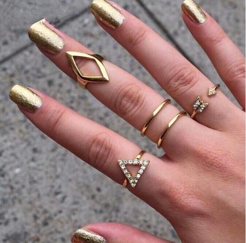 Кольца МИДИ на фалангу Треугольники-3, золото