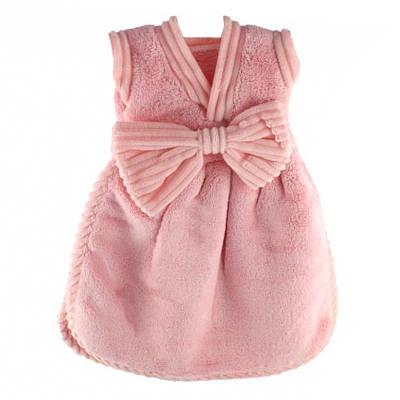 Банное махровое полотенце Платье с бантом 33х33 см SH88138 розовое 132182