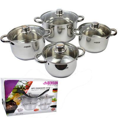 Набор посуды из 8 предметов из нержавеющей стали Benson BN-206 153986