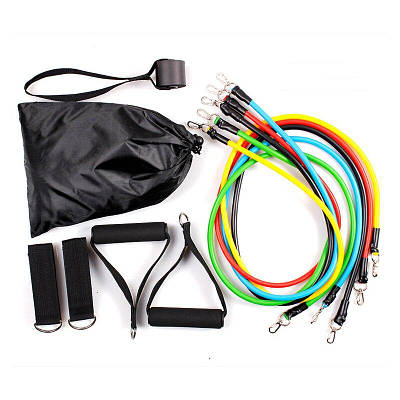 Набор трубчатых эспандеров для фитнеса и упражнений 11в1 Ares Active Resistance Bands Set 151139