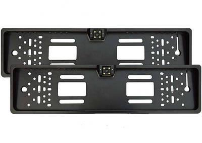 Камера заднего вида в рамке автомобильного номера с 4 Led подсветкой Черная 152634