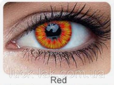 Линзы цветные для глаз огненные (RED FIRE), пара + контейнер для линз в подарок