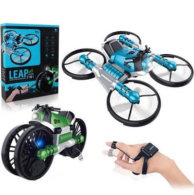 Квадрокоптер-трансформер дрон-мотоцикл на радиоуправлении 2в1 QY Leap 152825