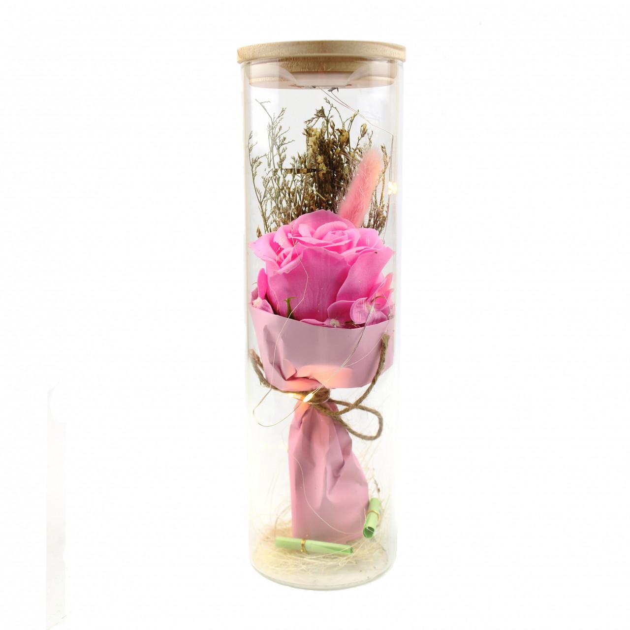 Роза в колбе с Led подсветкой Большая Розовая 149744