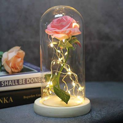 Роза в колбе с Led Розовая 8Х17 171698