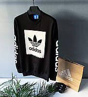 Стильний чоловічий світшот Adidas чорний з узором