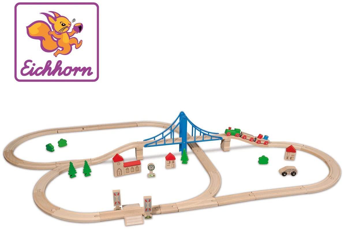"""Игровой набор Eichhorn """"Железная дорога. Путешествие через мост"""", 55 элементов, длина 500 см, 100001264"""