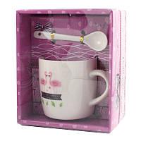 Чашка с ложечкой в подарочной упаковке Flamingo Have a nice day