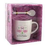 Чашка с ложечкой в подарочной упаковке Flamingo Love 132079
