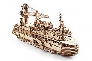 Научно-исследовательское судно UGears (575 деталей) - механический деревянный 3D пазл конструктор, фото 3