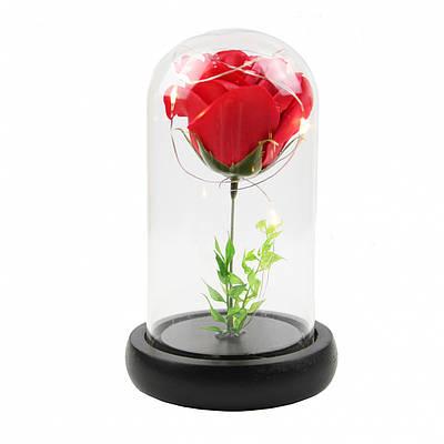 Роза в колбе с Led подсветкой маленькая Красная 149732
