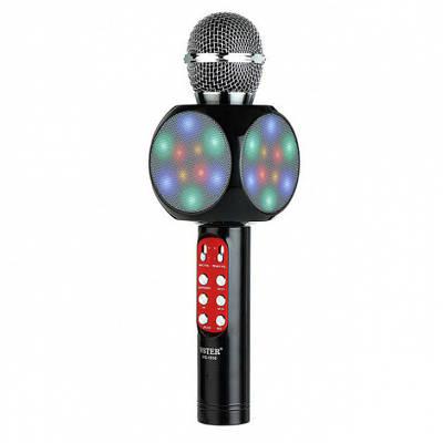 Беспроводной микрофон для караоке, портативный Bluetooth микрофон для караоке со светомузыкой Wster WS1816