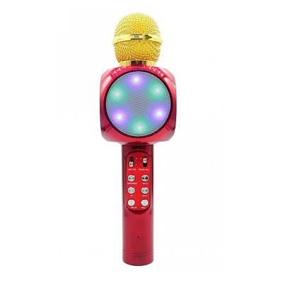Беспроводной микрофон для караоке, портативный Bluetooth микрофон для караоке со светомузыкой Wster WS1816 Red