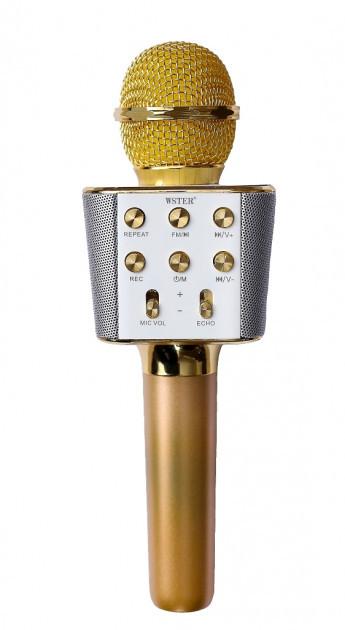 Беспроводной микрофон караоке блютуз WS-1688 Bluetooth Wster золото 152582