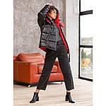 Красный женский пуховик укороченный с карманами, фото 4