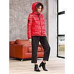 Красный женский пуховик укороченный с карманами, фото 5