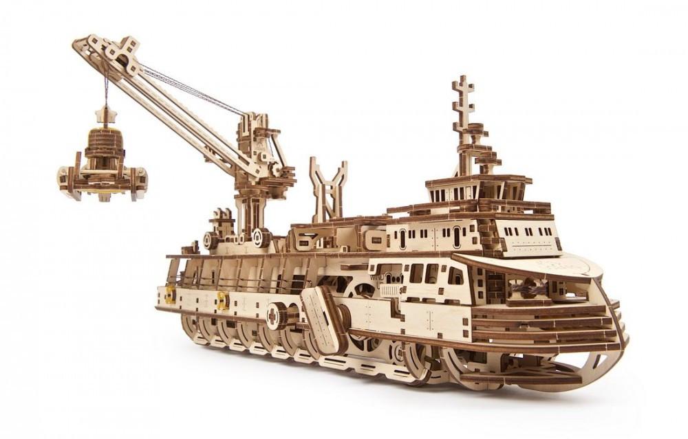 Научно-исследовательское судно UGears (575 деталей) - механический деревянный 3D пазл конструктор