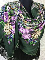 Павлопосадский зеленый платок с бахромой и цветочным народным рисунком, фото 1