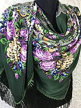 Павлопосадский зелений хустку з бахромою і квітковим народним малюнком
