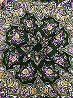 Павлопосадский зеленый платок с бахромой и цветочным народным рисунком - купить на Kosinka.net