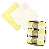 Комплект из 2х махровых полотенец 30х30 см SH88002 желтое и белое 132173