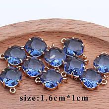 Коннектор для украшений хрустальный голубого цвета 1,6*1 см, контур - метал.