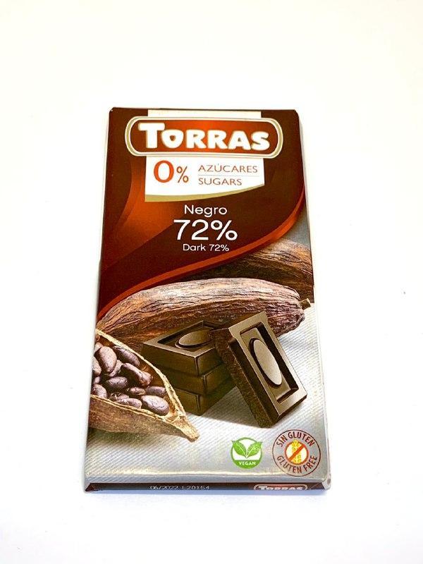 Черный шоколад 72% Torras , 0% сахара