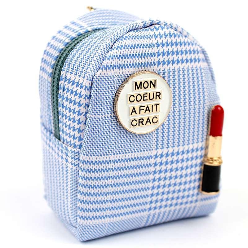 Брелок ключница кошелек с помадой голубой 141994