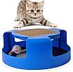 Когтеточка-игрушка для кошек и котят Cat Mouse Chase Toy с мышкой синий 171526, фото 2