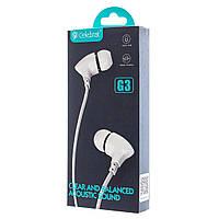 Наушники проводные с микрофоном Celebrat G3 белый 166005