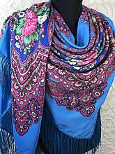 Павлопосадский блакитний хустку з бахромою і квітковим народним орнаментом