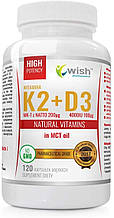 Вітаміни Vitamin K2 MK-7 200mcg + D3 4000IU 100mcg In MCT Oil 120 caps, Wish