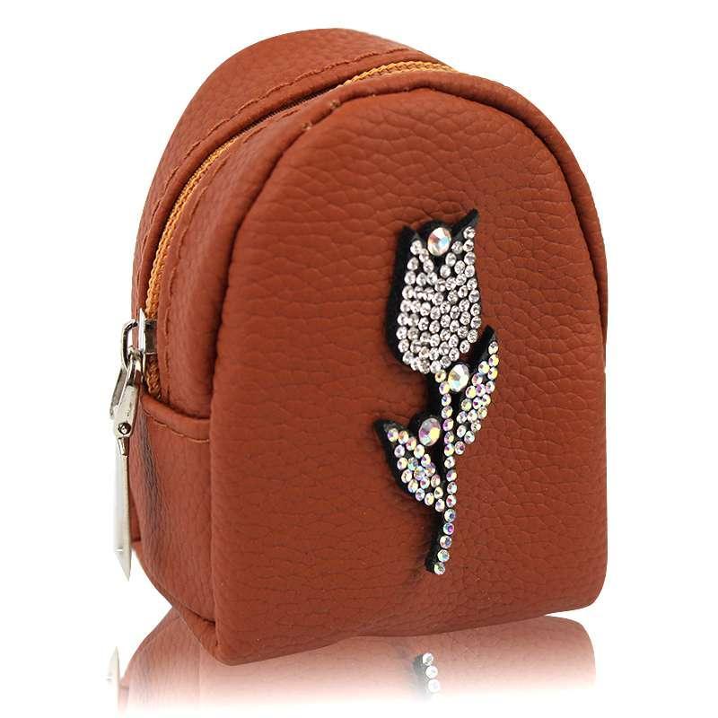Брелок ключница мини кошелек со стразами цветок коричневый 142013