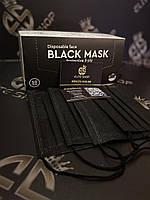 Black Mask 50 шт/уп. супер качество! Трехслойные со вставкой для носа и качественными резинками!