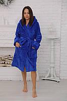 Теплый женский халат на запах средней длины