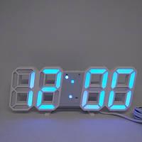 Электронные настольные часы с большими цифрами LY 1089 S с будильником, термометром и Led подсветкой голубой