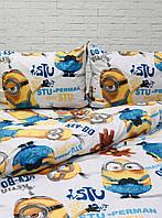 Комплект постельного белья Миньйоны   Полуторный   Бязь Gold Lux