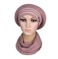 Комплект берет и шарф женский вязаный Viola ангора цвет пудровый, фото 1