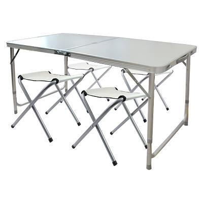 Складной столик чемодан для пикника, кемпинга 120 на 60 см с 4-мя стульями Folding Table светлый 149552