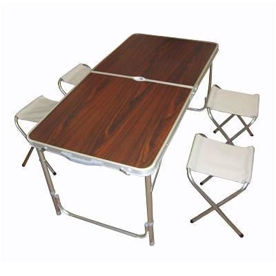 Складной столик чемодан для пикника, кемпинга 120 на 60 см с 4-мя стульями Folding Table тёмный 130642