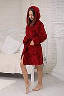Бордовый женский халат на запах средней длины