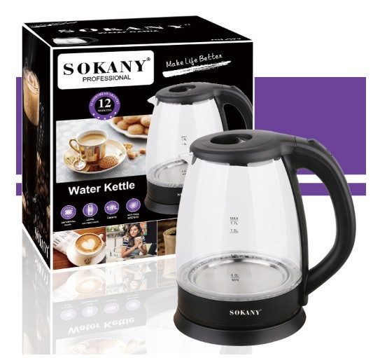 Электрический чайник Sokany SC-322 стекло